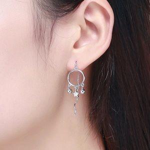 Silver w/CZ Star Dangle Earrings with Wavy Ends